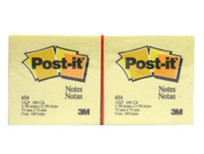 NOTAS 3M POST-IT 654 3X3 AMARILLO 100HJS C/12