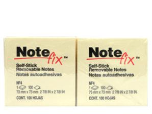 NOTAS 3M ADHESIVAS NOTE FIX 7.6X7.6 AMARILLO 100HJS C/12