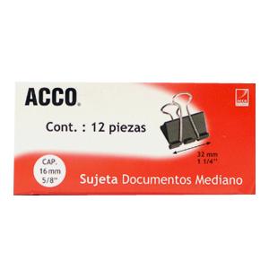 SUJETA DOCUMENTOS ACCO 5434 MEDIANO C/12 SUJETADORES