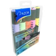 Marcador Resaltador Vision Plus Pastel Tipo Base Agua Redondo Punta Cincel Colores Surtidos C/5