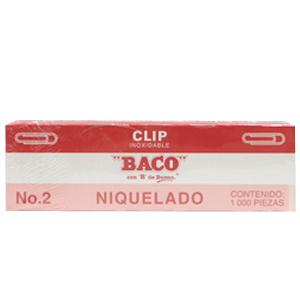 CLIP BACO NIQUELADO 2 C/100 CLIPS PQTE C/10