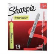 Marcador Sharpie Permanente Fino Redondo Color Negro C/12+2 Resaltadores
