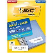 ETIQUETAS BIC CARTA INKJET LASER 25.4 X 66.7 BLANCAS PQ C/25