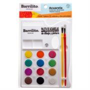 Acuarelas Barrilito Paleta 12 Colores C/2 Pinceles