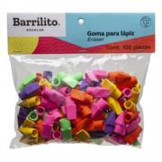 Goma Barrilito para Lápiz Colores Surtidos Bolsa C/100 Pzas