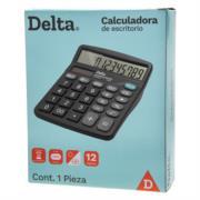Calculadora Barrilito Delta Escritorio 12 Dígitos 14.5x12 cm Batería AA