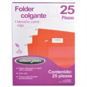 Folder Acco Colgante Carta Color Rojo c/25 Piezas