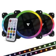 Kit Ventiladores Vorago Game Factor FKG400 3 Fans 12mm RGB 2 Tiras Led Control Remoto
