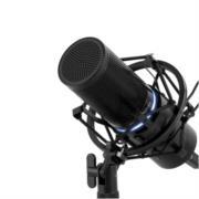 Micrófono Vorago Game Factor MCG700 USB LED Profesional Ajuste Volumen Stand Color Negro