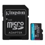 Memoria Kingston Micro SDXC Canvas Go Plus 512GB UHS-I U3 V30 A2 Clase 10 C/Adaptador