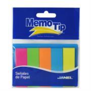 Banderitas Janel Memo Tip Señales de Papel 1.5cmx5cm Colores Neón C/50